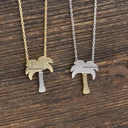 Dainty Palm Tree Peadant necklaces ..