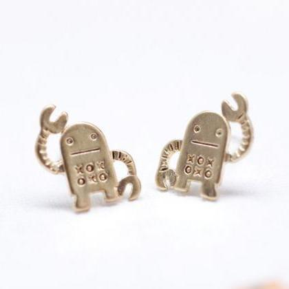 cute and unique robot post earrings..