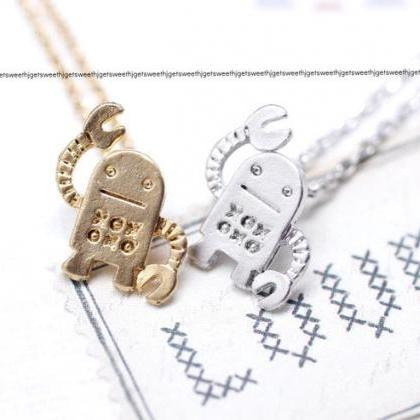 cute and unique robot pendant neckl..