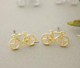 Bicycle stud earrings, Bike earrings in 3 colors, E0702K