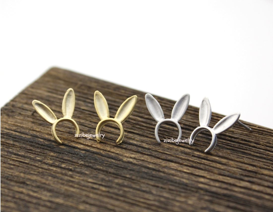 Bunny Ears hairband Stud Earrings in matte gold /silver, E0282S