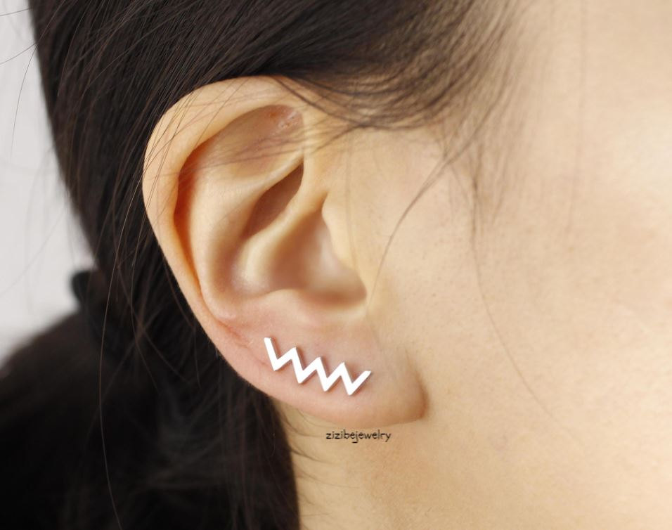 Zig Zag Earcuff style, Ear pin Stud Earrings in gold and silver, E0378S