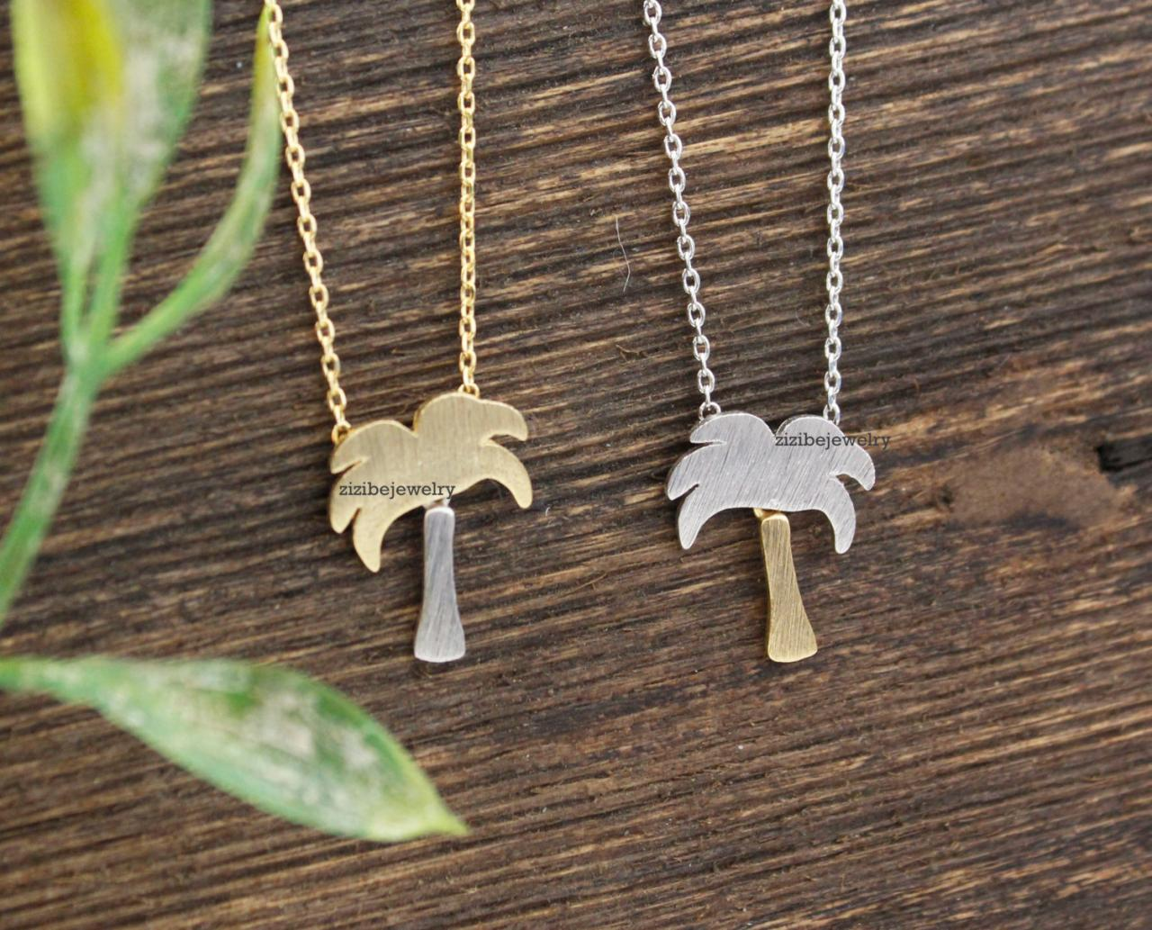 Dainty Palm Tree Peadant necklaces in Gold / Silver, N0357K