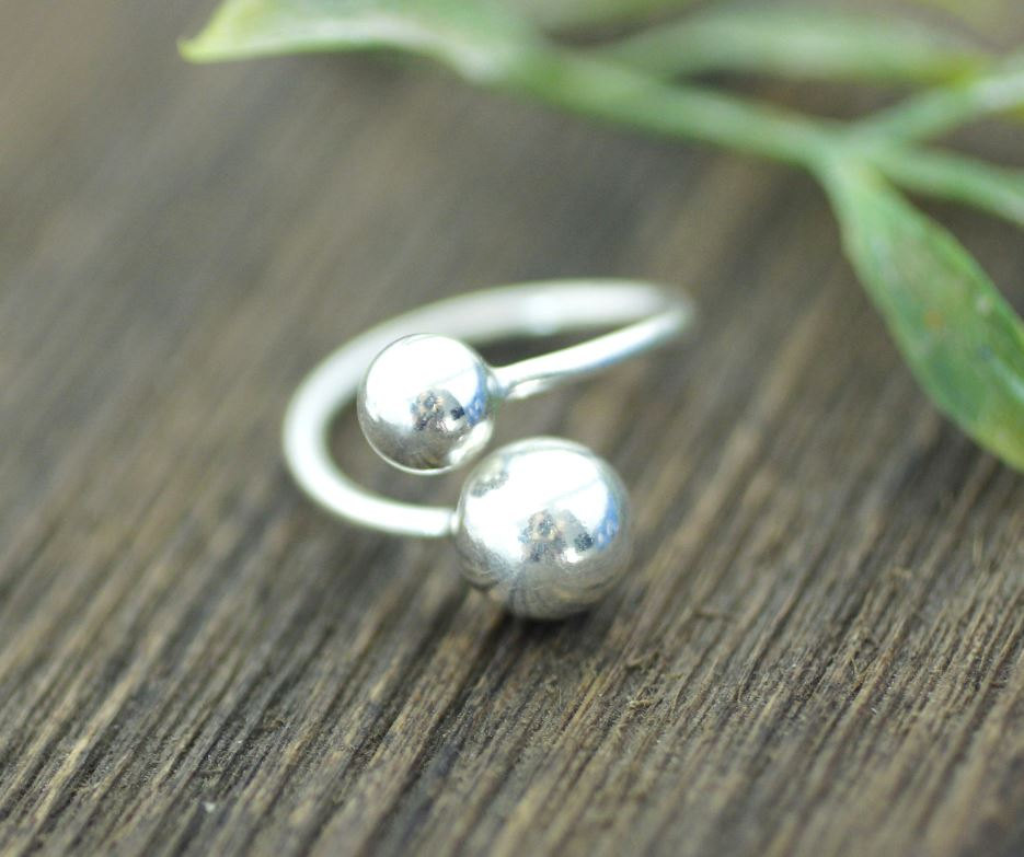 925 Sterling Silver Double Balls Ring, R0166S