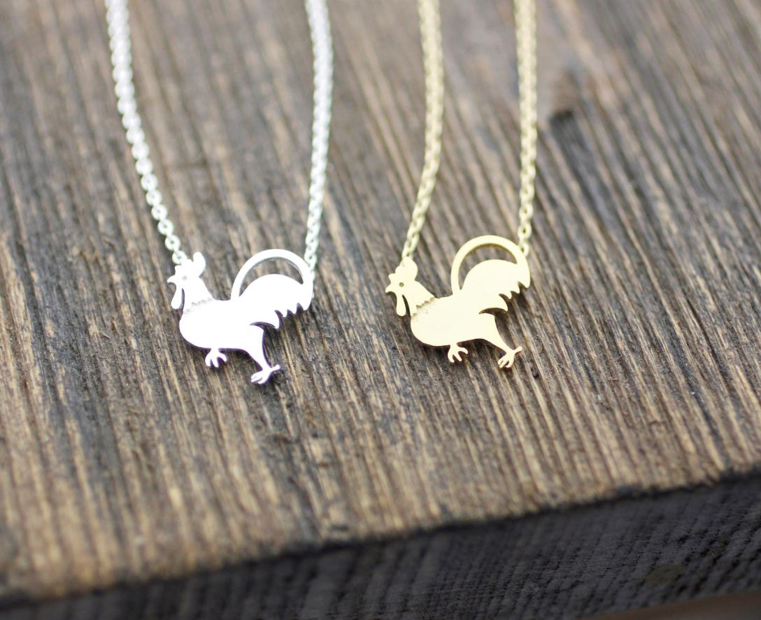 Rooster pendant, chicken Necklace in 2 colors, N0066G