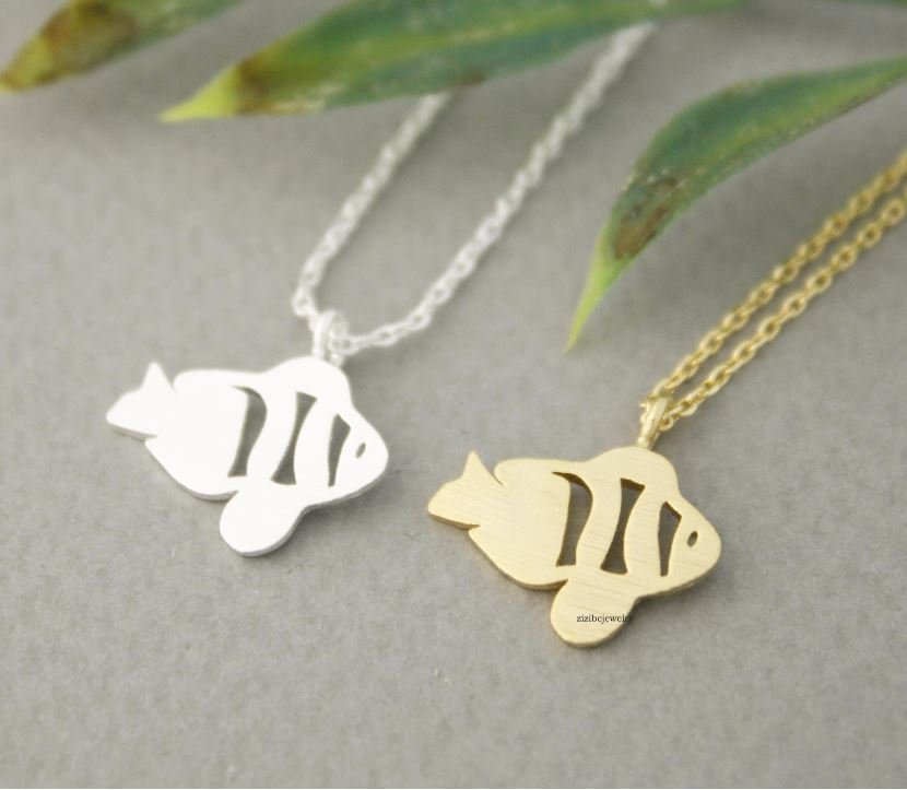 Cute Tropical Fish, Clown Fish, NEMO, Gold Fish necklace in 2 colors, N0684G