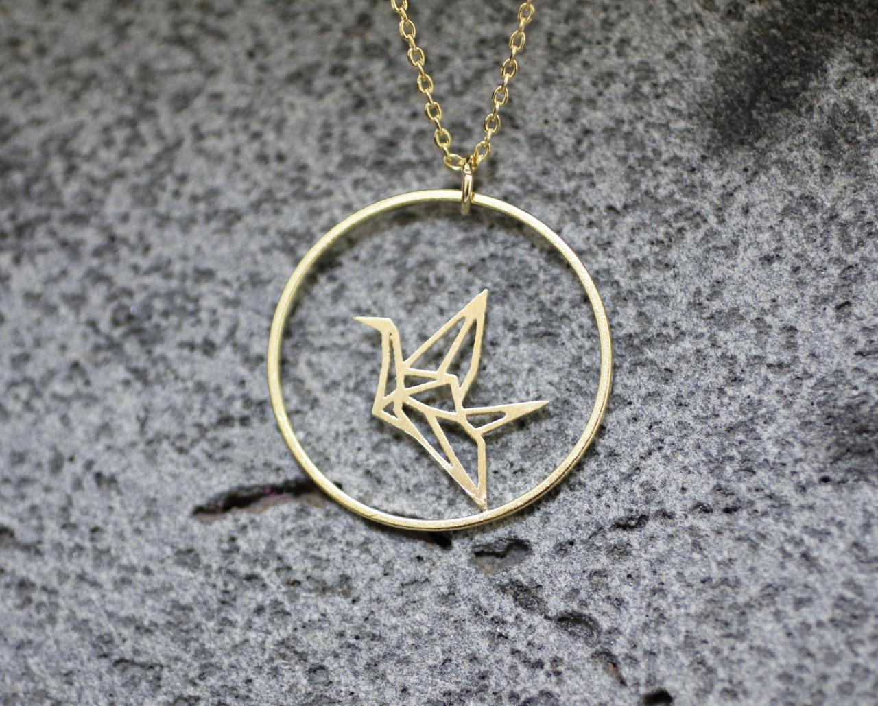 Origami Crane And Circle Necklace In Gold / Silver on Luulla - photo#14