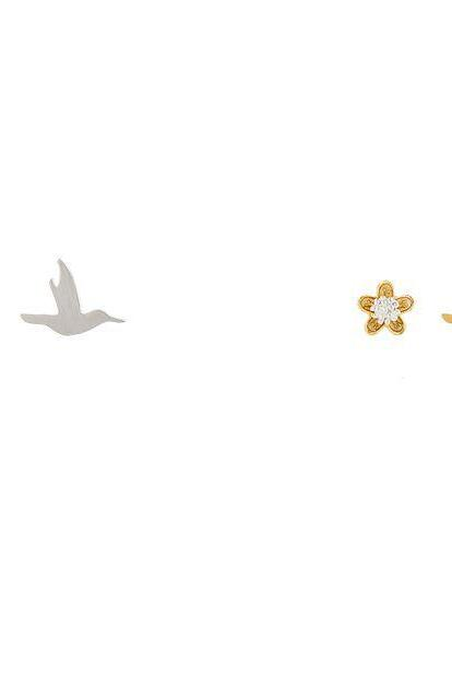 Hummingbird and flower unbalance Stud earrings