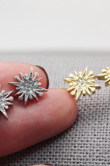 Cubic Snowflake Earrings, Snowflake Studs, Glittery Earring