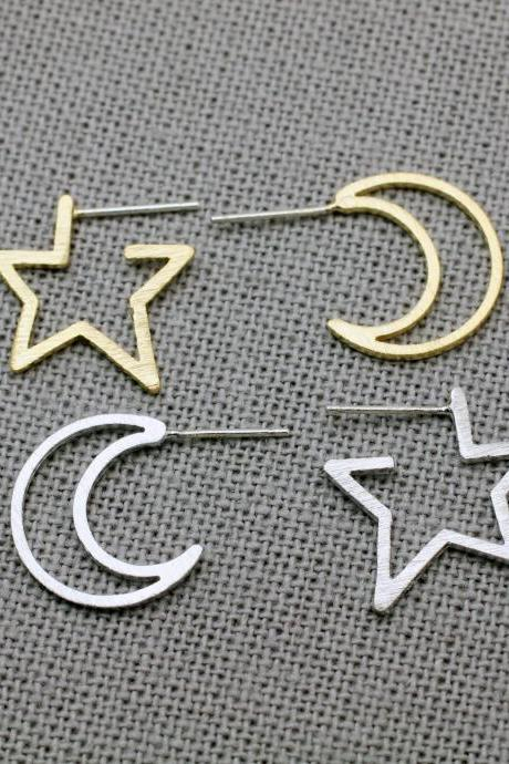 Cut Out Geometric Crescent Moon and Star Stud Earrings in Gold or Silver