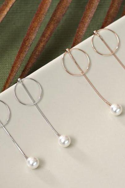 925 Sterling Silver Pearl and Circle long chain ear jacket, Pearl and bar ear jacket, Geometric bar and pearl ear Jacket