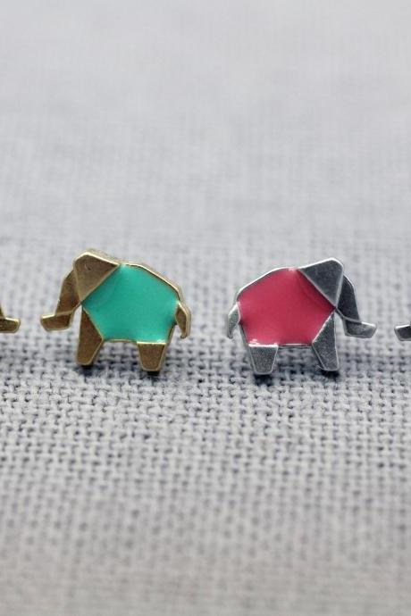 Cute Origami Elephant stud earrings pointed with glossy clear epoxy resin, color elephant earrings