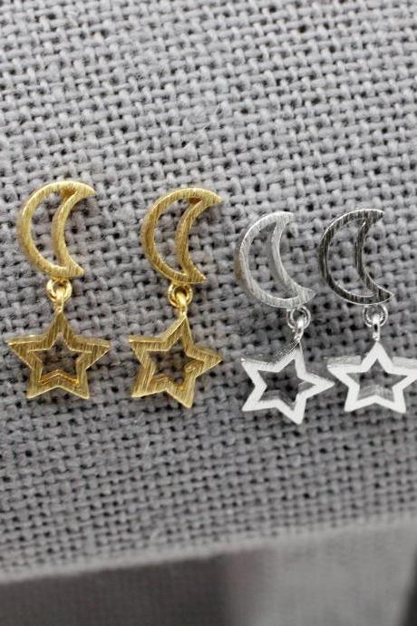Open Crescent Moon and Star Dangle Earrings ,Dangle Crescent moon and star earrings, open star and moon Earrings