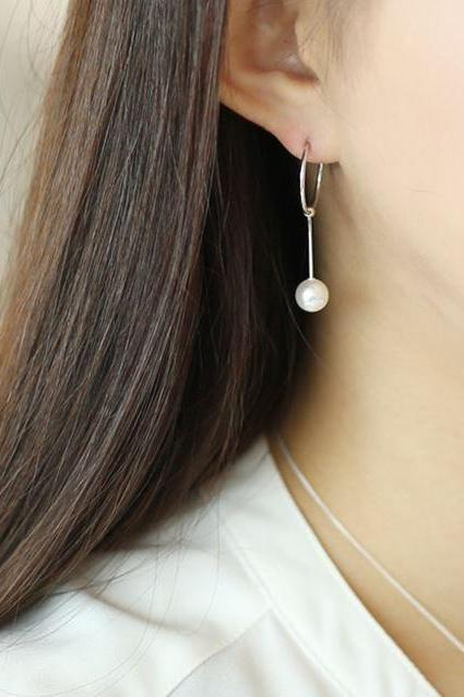 925 Sterling Silver Pearl and Circle long chain drop earrings, Pearl and snake chain drop earrings, Geometric ring and pearl drop earrings