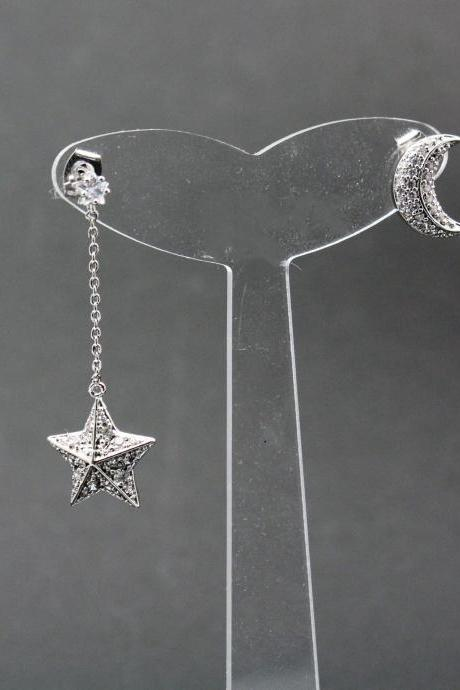 Cubic Zirconia detailed Crescent Moon and Star Long Earrings ,Dangle Crescent moon and star earrings, Long Chain Drop moon and star earrings, unbalanced earrings