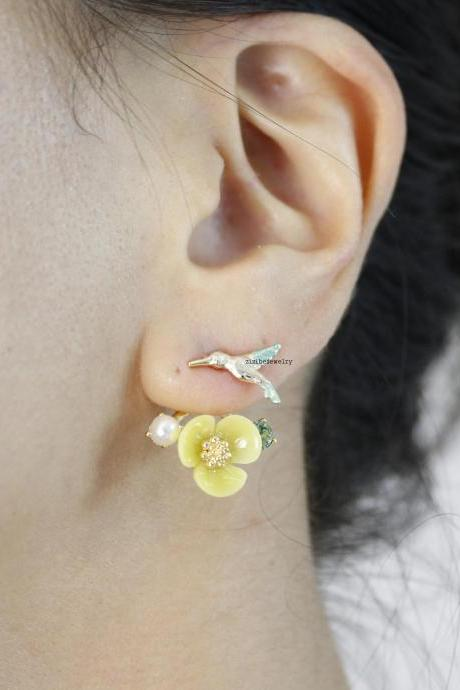Front and Back Humming Bird and Flower Ear jacket,Wrap around dangle cuff earrings, Yellow color