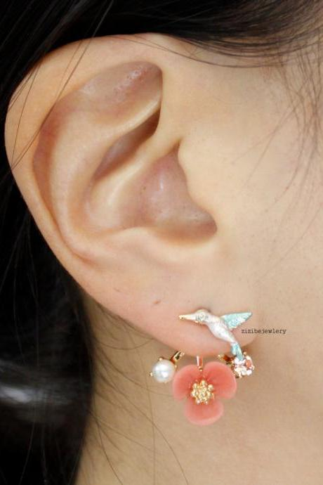 Front and Back Humming Bird and Flower Ear jacket,Wrap around dangle cuff earrings, Pink color