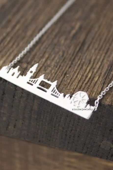 Cityscape Necklace, Skyline Necklace- London Necklace 2. in 3 colors, N0462K