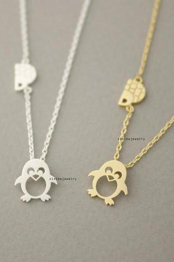 cute Penguin with igloo Pendant Necklace in 2 colors, N0723G