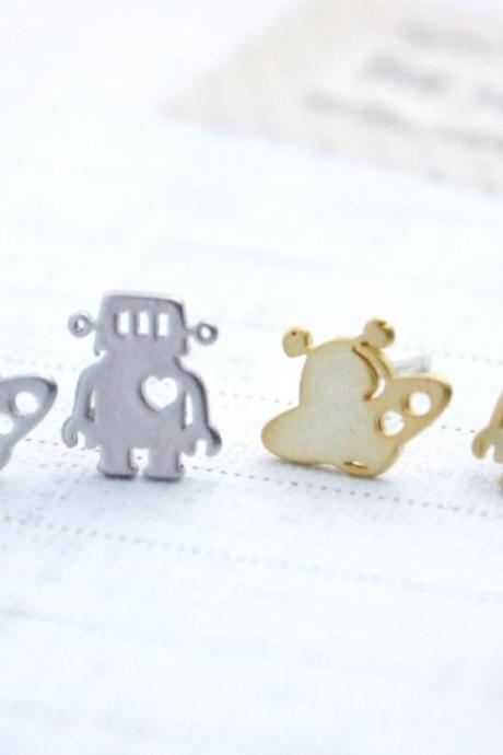 cute and unique Robot and U,F,O post earrings( gold /silver), E0091S
