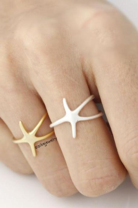 Starfish Adjustable Ring in Gold and Silver, R0016G