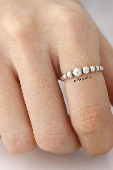 925 Sterling Silver Tiny Ball Chain Stacking Ring