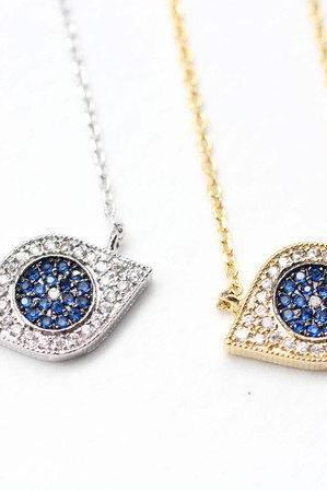 EVIL EYE Pendant Necklace detailed in Swarovski Blue setting Gold / Silver(925 sterling silver / plated over Brass)
