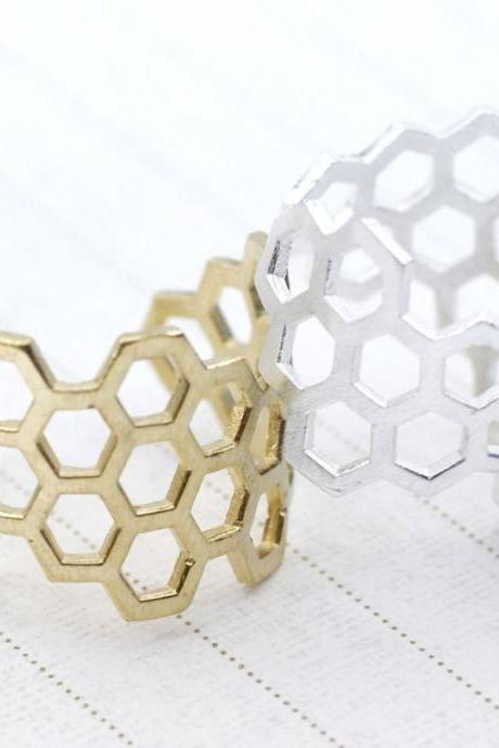 Beautiful Honeycomb Honey Bee Hexagon Geometric Adjustable Ring in 2 colors, R0018G