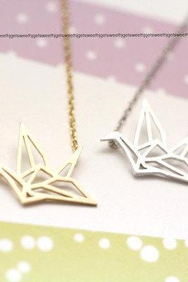Origami Crane Necklace in matte gold / silver