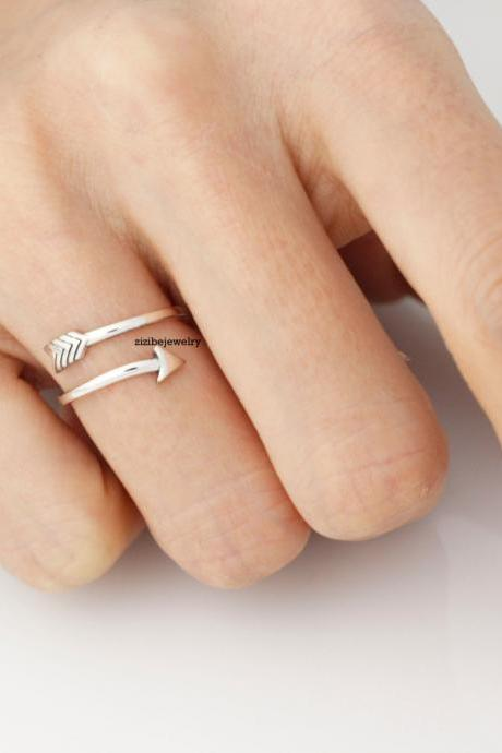 925 Sterling silver Piercing Arrow Adjustable Ring, R0298S
