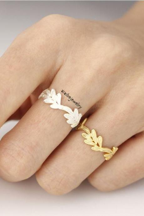 Lace filigree Leaf Ring in GOLD and SILVER-Adjustable
