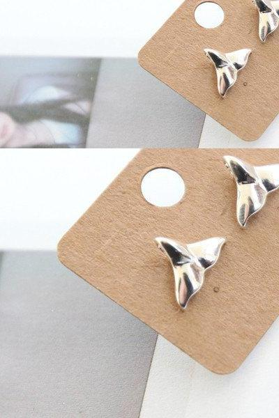 tiny Whale tail post earrings in silver