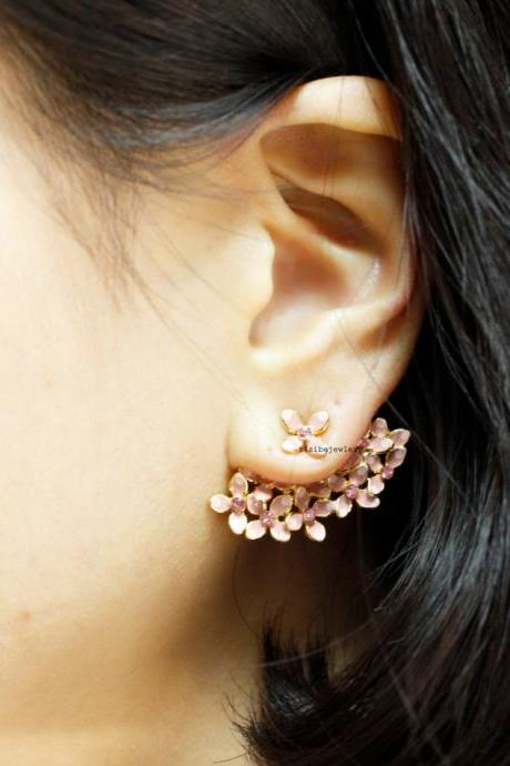 Bunch of Cherry Blossom Flower ,Flower Bouquet wrap Earrings, Ear Jackets in 2 colors, E0446S