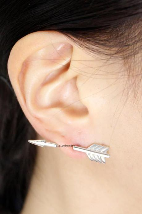 Piercing style Arrow Earcuff Stud Earrings in 2 colors, E0775S