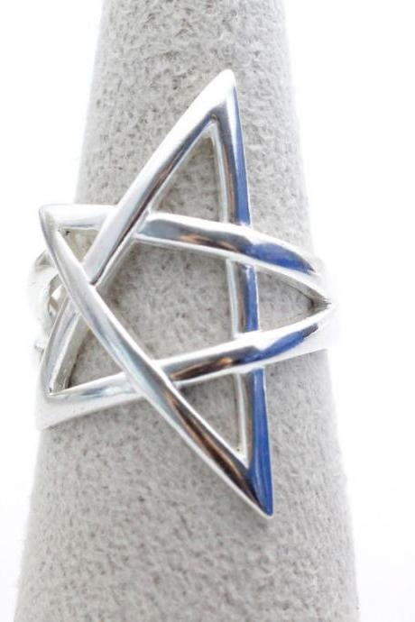925 sterling silver Cut-Out Open Star Ring