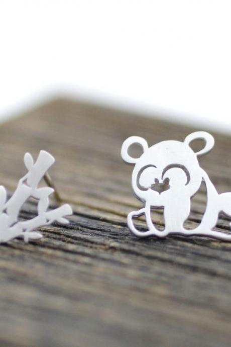 cute and unique Panda and Bamboo post earrings( gold /silver), E0137S