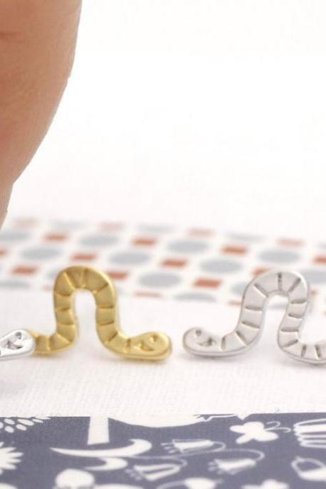 cute and unique Worm post earrings( gold /silver)