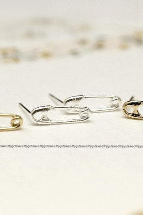Safety Pin Stud Earrings in Silver or Gold, Jewelry