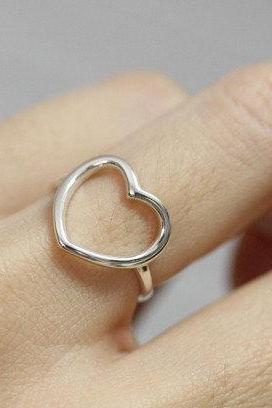 925 sterling silver Open Heart Ring
