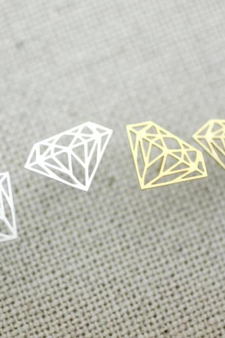 Diamond Shape Cutout studs earrings in God / Silver,E0164G