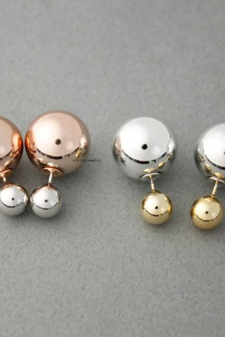 Front and Back Double colors balls EarJackets Post Earrings 8mm, 16mm