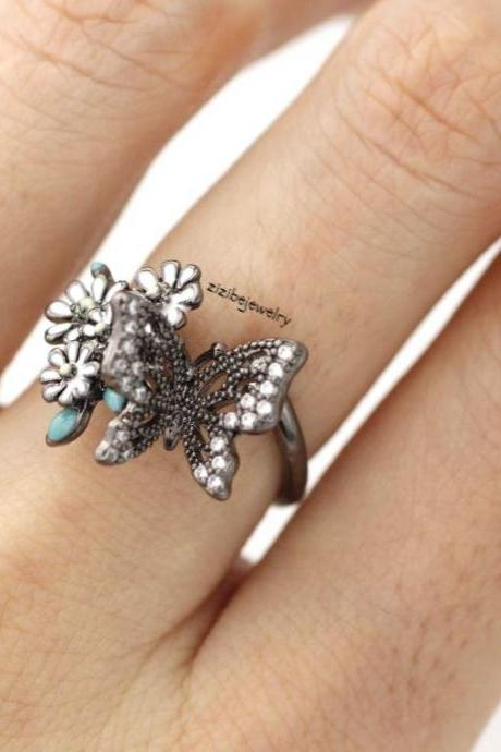 Bunch of Cherry Blossom Flower and Butterfly Adjustable Ring in 4 colors, R0348S