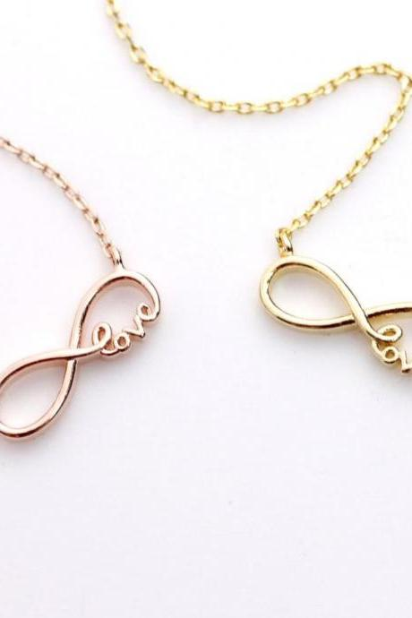 Infinity Love Pendant Chain Necklace in Gold, Silver, Rose Gold