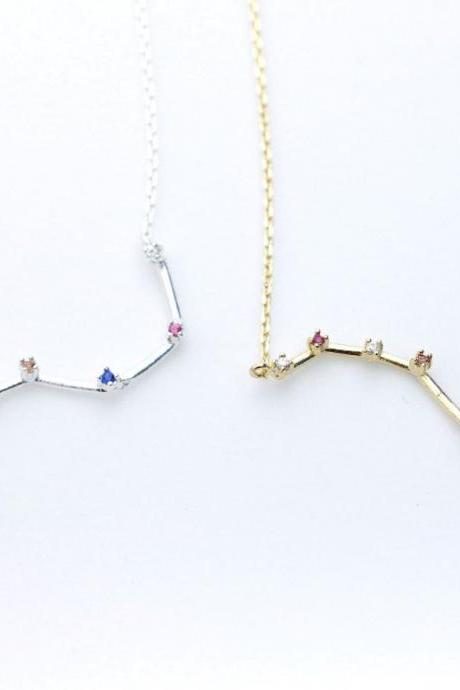 925 sterling silver Big Dipper necklace detailed with cubic zirconia in gold / silver