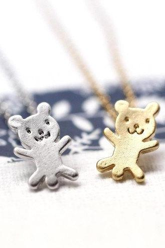 cute and unique tiny teddy bear pendant necklace( gold /silver)