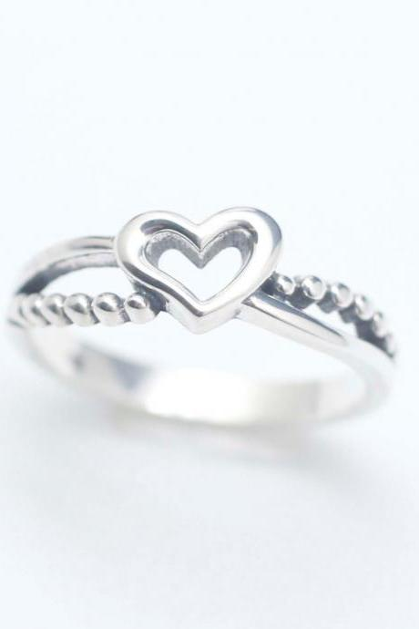 925 sterling silver Tiny Open Heart Ring