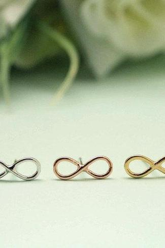 Infinity Stud earrings in gold / silver / pink gold