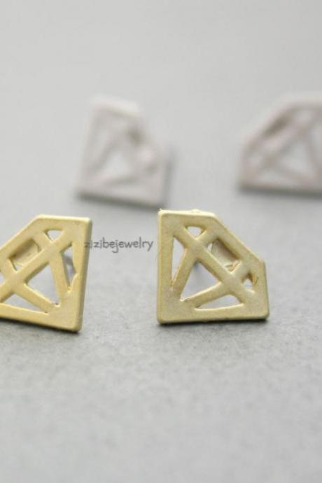 Cut-Out Diamond shape stud earrings in 2 colors, E0289S