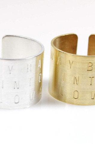 Stacking Wide and Thick Way Back Into Love Band Cuff ring, tube ring, knuckle ring