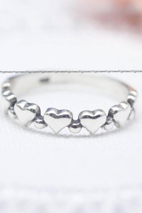 925 Sterling Silver Delicate Heart Line ring